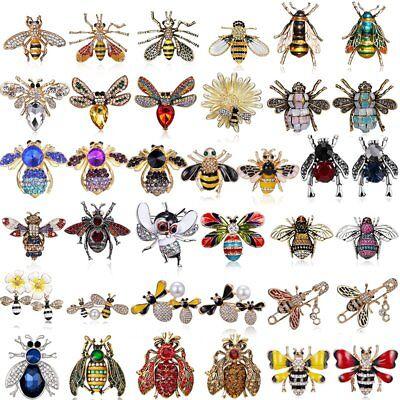 Wholesale Insect Bee Pearl Crystal Rhinestone Enamel Brooch Pin Women Jewelry