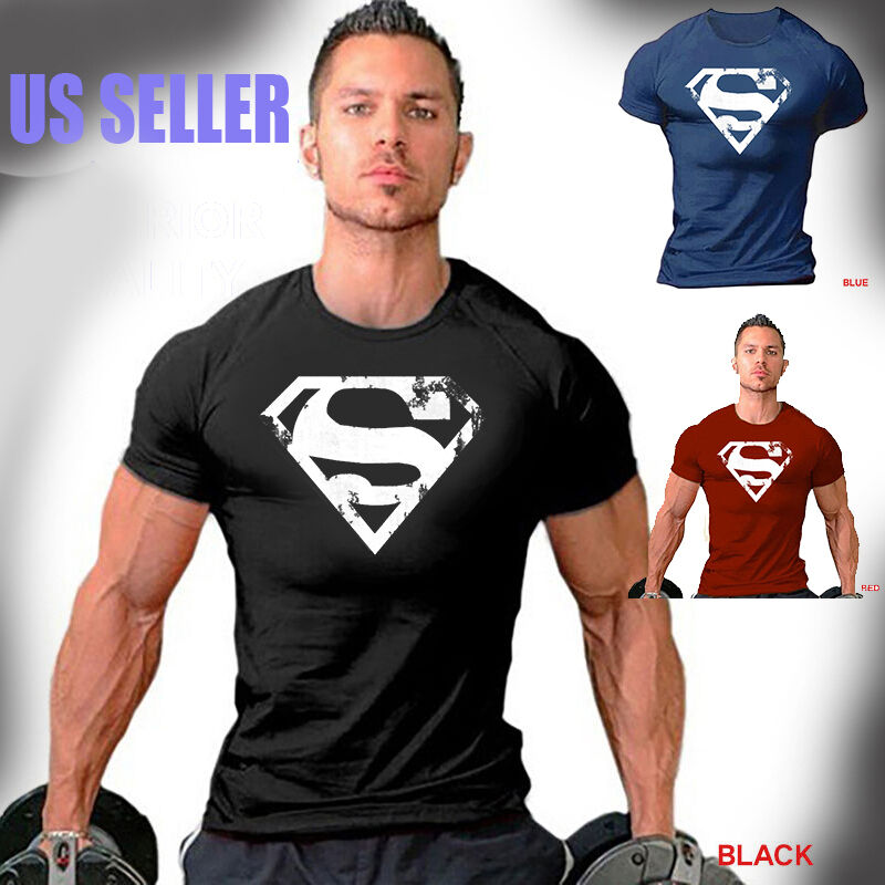 Men's Superman Gym Singlets T-shirt Bodybuilding Fitness Sports Workout Clothes