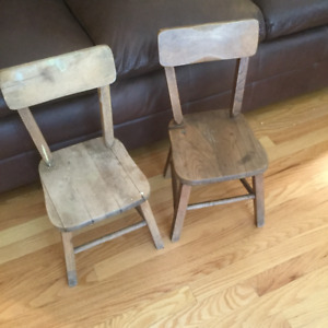 Pair of 2 Vintage Solid Wood Childrens Chairs