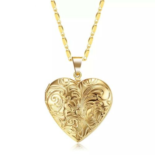 18K Gold Plated Heart Flower Locket Photo Picture Pendant Necklace 17″ +2″ N93 Fashion Jewelry