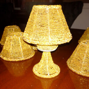set of six lamps - 8 inches tall gold beads