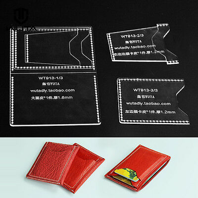 WUTA Mini Card Holder Acrylic Leather Craft Pattern Stencil Template Diy Set 913 Craft Stencil Template Pattern
