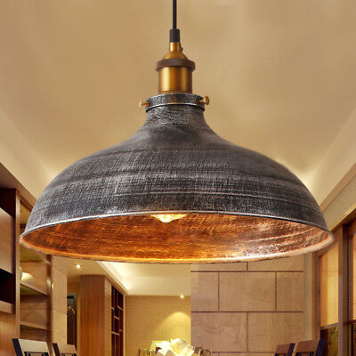 Industrail Warehouse Pendant Light Silver Dome Shade Hanging Ceiling Fixture Dome Pendant Light Fixture