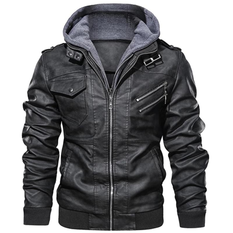 Men's Slim Fit Outwear Black Leather Jacket Zipper Hooded Mo