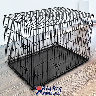"Portable Black 48""[XX-Large] 2Doors Pet Cat Dog Crate Cage Pen Kennel w/ABS Tray"