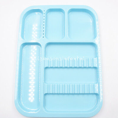 Blue Dental Instrument Plastic Divided Separate Tray Standard Type Autoclavable