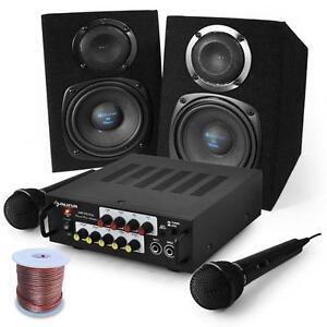 COMPLETE PA SYSTEM KARAOKE SET SPEAKER PAIR AMP MICS HOME DJ PARTY EVENTS