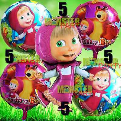 5x Masha and the Bear Theme Party Balloons balloon supplies banner cover table - Masha And The Bear Party Supplies