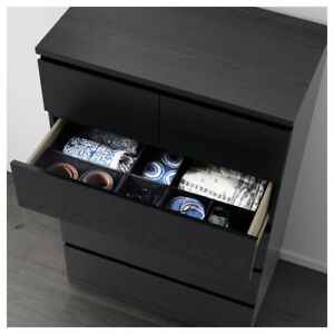 Ikea Malm 6-Drawer Black / Brown Chest of Drawers