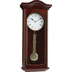 Kassel™ Quartz Pendulum Wall Clock Wood with Gold Tone Finish