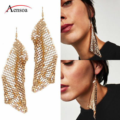 Fashion Women Shine Metal Sequins Tassel Dangle Drop Statement Earrings Jewelry