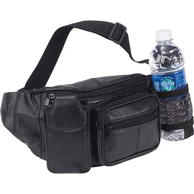 FANNY PACK w/ BOTTLE HOLDER Black Leather Waist Belt Bag Purse Hip Pouch Travel Black Leather Belt Bag