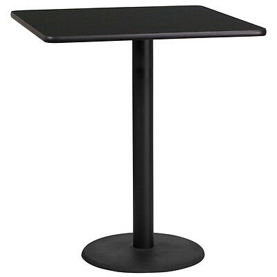 36 Square Black Laminate Table Top With 24 Round Bar Height Base