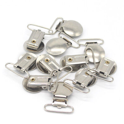 10Pcs Baby Round Metal Holders Pacifier Clips DIY Pacifiers Teething (Round Metal Clips)