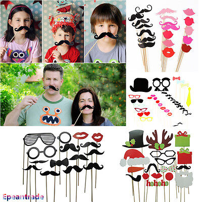 DIY Photo Booth Props Mask Sticker Mustache For Wedding Birthday Christmas Party (Christmas Props For Photo Booth)