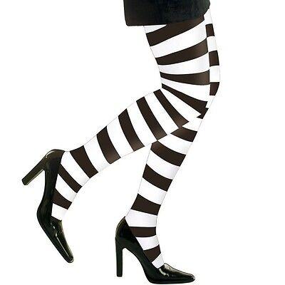 Strumpfhose schwarz-weiß gestreift Ringelstrumpfhose Kostüm Halloween -