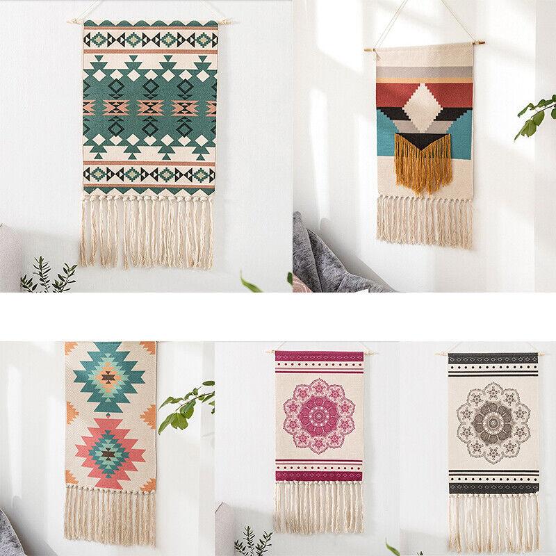 Macrame Woven Wall Hanging Tapestry Hemp Rope Boho Chic Art Tassel Home Decor