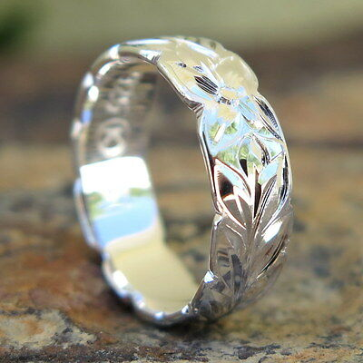 Hawaiian Jewelry Sterling Silver Maile Leaf Cut Out Wedding Ring Band 6mm - Leaf Silver Ring Jewelry