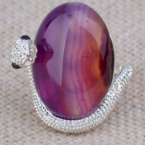 Ring-Women's Fashion Snake Design- Silver Plated Agate Ring