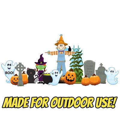 FRIENDLY HALLOWEEN THEME 14pc Plastic OUTDOOR YARD DECOR Standee Standup - Friendly Outdoor Halloween Decorations