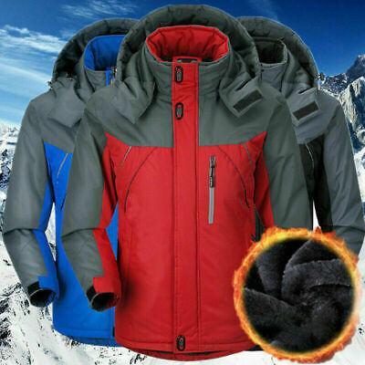 Winter Ski Jacket Men Warm Outdoor Fleece Lined Waterproof Snow Coats Plus Size