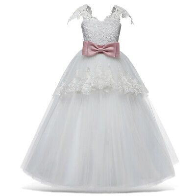 White Flower Girls Dresses For Wedding Tulle Lace Long Girl Dress Party Gown
