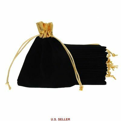25pcs Black Velvet Drawstring Pouches Jewelry Wedding Party Gift Bags 12x15cm