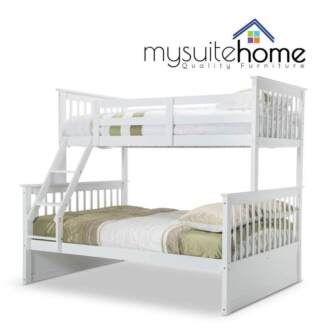 Emma White Single on Double Solid Timber Bunk Bed