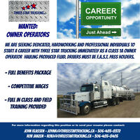 OWNER OPERATORS WANTED TO START IMMEDIATELY