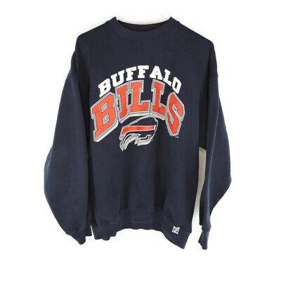 Vintage Buffalo Bills XL Sweatshirt Navy Blue Crew Neck Logo 7 Heavy Weight 1990 Navy Blue Crew Sweatshirt