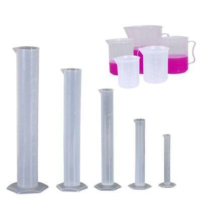 5pcs Plastic Graduated Cylinders Plastic Graduated Cylinders And Plastic Beakers