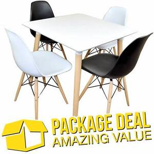 DEAL - Cafe / Dining Table + 4 Replica Eames Side Chairs Silverwater Auburn Area Preview