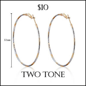 Gold and Platinum Plated Two Tone Hoop Earrings