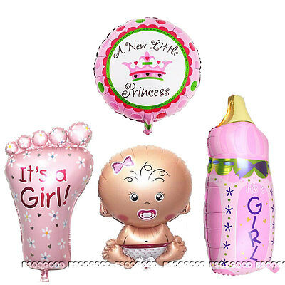 4PCS Girl Foil Helium Balloon for newborn Baby Shower Christening Birthday Party