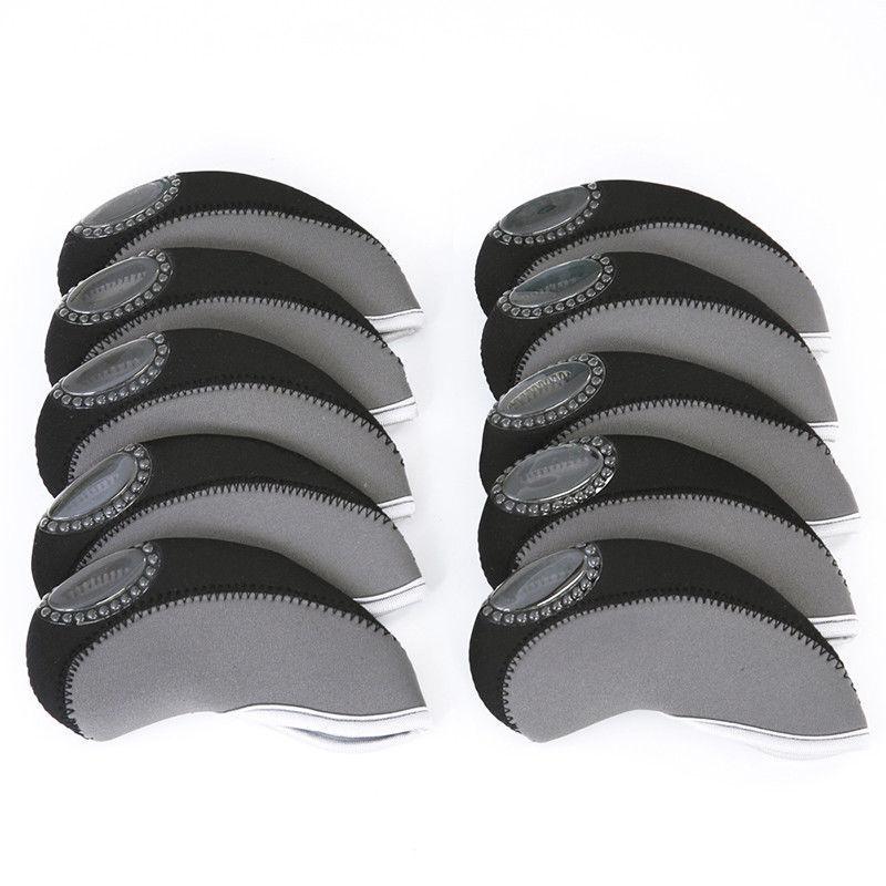 10pcs Golf Head Cover Club Wedge Iron Protective Headcovers Neoprene Putter Set Club Head Covers