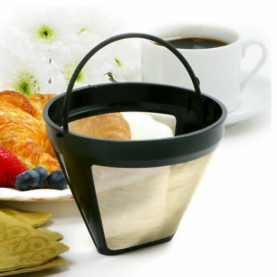 Gold Tone Reusable Permanent #4 Cone Shape Coffee Filter Mesh Basket Filter NEW