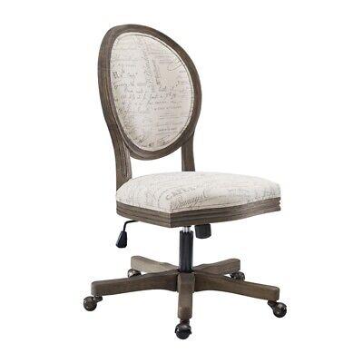 Linon Corden Script Wood Upholstered Office Chair In Beige
