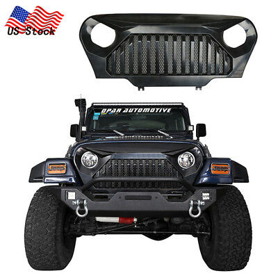 Matte Black Front Gladiator Grille Grill w/ Mesh Inserts for Jeep Wrangler 97-06