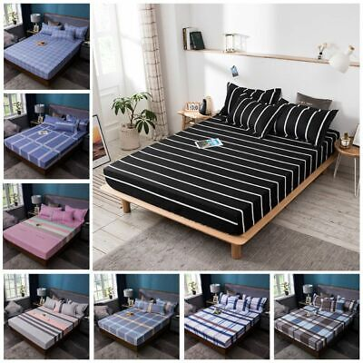 1/3pcs Print Fitted Sheet Pillowcase Set Elastic Bedsheet Ma