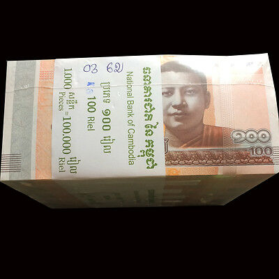 Brick 10 Bundles 1000 PCS, Cambodia 100 Riels, 2014/2015, P-65 New, UNC
