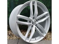 """19"""" RS6-C Silver with a Polished Face Alloy Wheel for 5x112 Audi A4, A6, A5 Etc"""