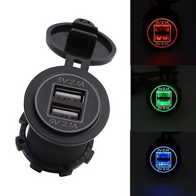 12/24V 4.2A  USB Car Socket Cigarette Lighter Dual  2 Port Charger Adapter Power