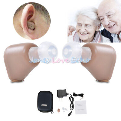 2Pack Rechargeable Digital Mini In Ear Hearing Aid Adjustable Tone Amplifier New