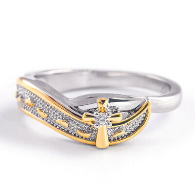 Fashion Cross Two Tone 925 Silver Rings for Women Wedding Party Ring Size -