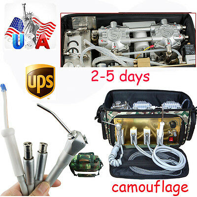Backpack Portable Dental Treatment Turbine Unit Air Compressor Suction Syringe