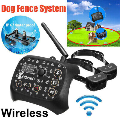 Dog Training Shock 2 Collar Fence Wireless Pet Electric Trainer System Outdoor