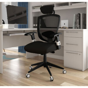 Bestar Ergonomic High-Back Executive Chair Black with Head Rest