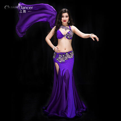 Professional Belly Dancing Costumes (2019 Professional Belly Dancing Costumes Set Performance Diamond 2PCS Bra)