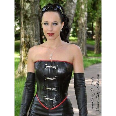 Sexy Leather Corset Black red Size M schwarz rot Echte Leder Korsett Cuir Buckle - Leder Buckle Korsett