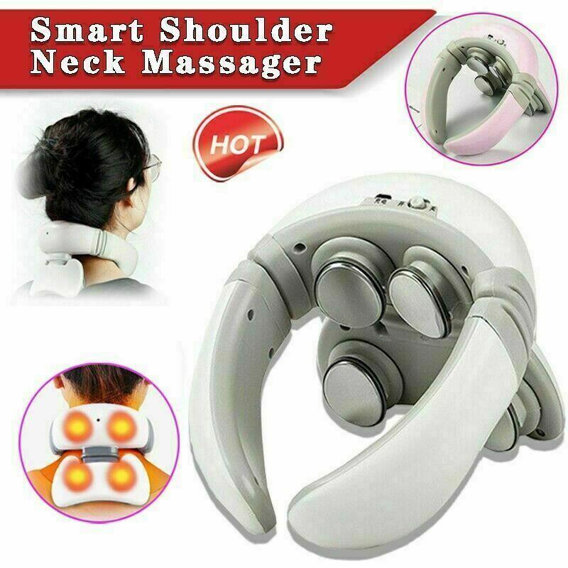 Smart 4D Magnetic Pulse Heated Electric Shoulder Neck Cervical Massager Relief